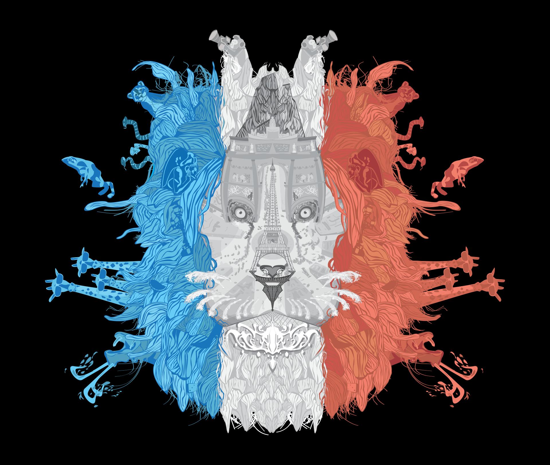 lion-head-paris-landmark-illustration